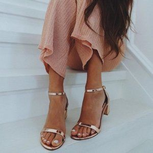 Stuart Weitzman Simple Patent Leather Ankle Strap Sandal Beige Glass/Rose Gold